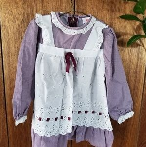 Vintage Purple Checkered with Lacey Apron